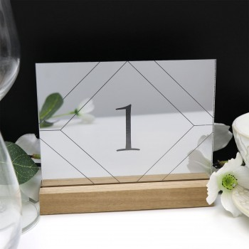 Mirror Silver Geometric Table Number - Acrylic with Timber Base