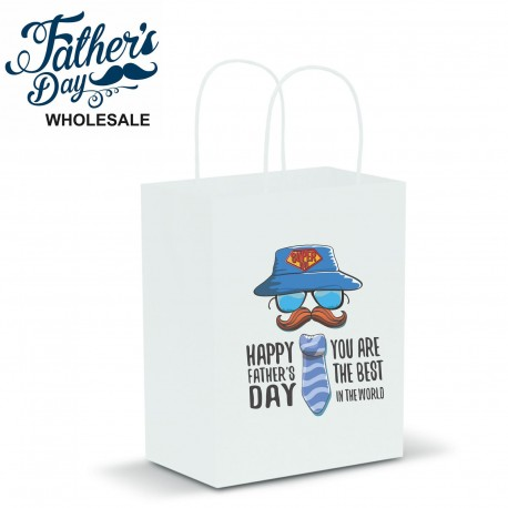 Fathers Day White Kraft Gift Bag School Fundraising Gift