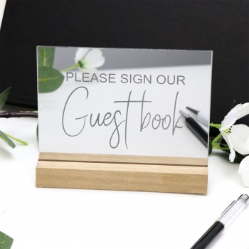 Mirror Silver Guest Book Sign - Acrylic with Timber Base