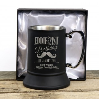 Engraved Birthday Matte Black Beer Mug Stainless Steel