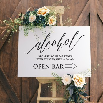 Wedding Bar Sign 6mm Thick Wooden Printed Sign