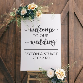 Personalised Wedding Welcome Sign - White with Black Printed Design