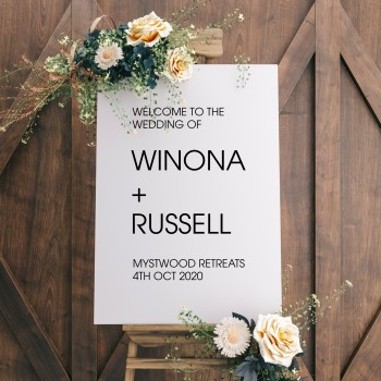Welcome Wedding Personalised Modern Sign - White with Black Printed Design