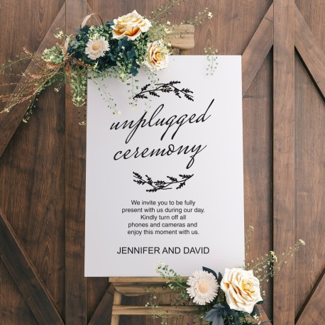Unplugged Ceremony Wedding Sign White with Black Printed Design