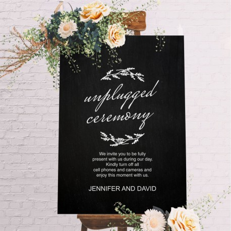 Unplugged Ceremony Wedding Sign Black with White Printed Design