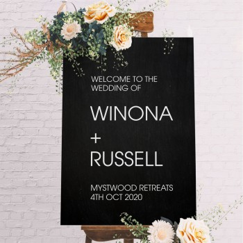 Welcome Wedding Personalised Modern Sign - Black with White Printed Design
