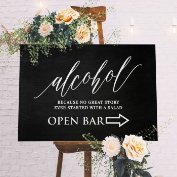 Wedding Bar Sign 6mm Thick MDF Sign - Blackboard Style Background
