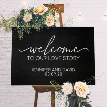 Welcome Sign - Personalised Wedding Sign with Blackboard Style Background