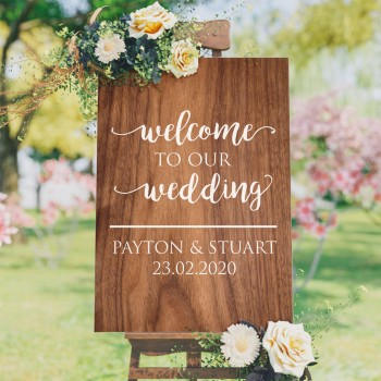 Personalised Welcome to Our Wedding Sign - Wooden Design Background