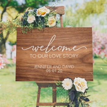 Welcome Love Story Sign - Personalised Wedding Sign with Timber Design