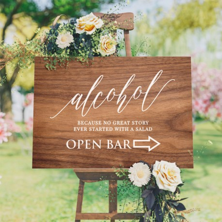 Wedding Bar Alcohol Sign - Wooden Design Background