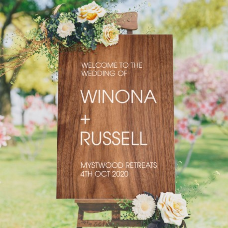 Welcome Wedding Personalised Simplistic Sign - Timber Style Background