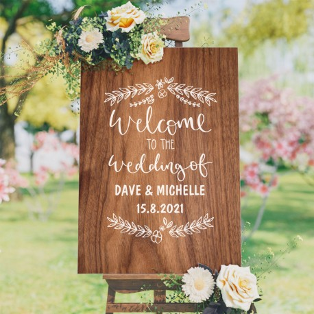Personalised Wedding Welcome Sign Timber Style With White
