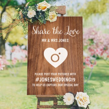 Wedding Hashtag Sign - Timber Style Background