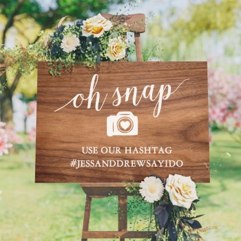 "Personalised ""Oh Snap"" Hashtag Sign - Timber Style Background"
