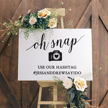 Wedding Hashtag Personalised Sign - Blackboard Style Background
