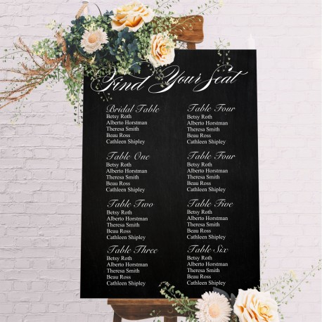 Find Your Seat Seating Chart Wedding Sign - Blackboard Style Background