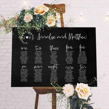 Personalised Initial Seating Plan Wedding Sign - Blackboard Style Background