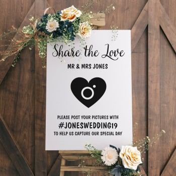 Share The Love Wedding Hashtag Sign - Quality 6mm Wooden MDF Sign