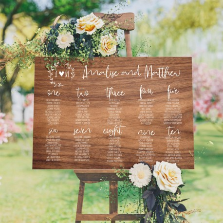 Personalised Initial Seating Plan Wedding Sign - Wood Style Background