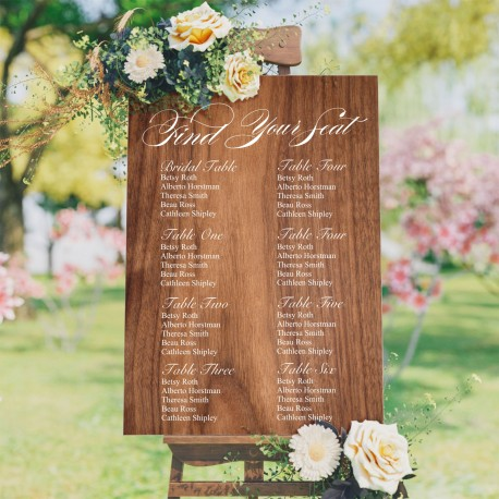 Find Your Seat Seating Plan Wedding Sign - Wood Style Background