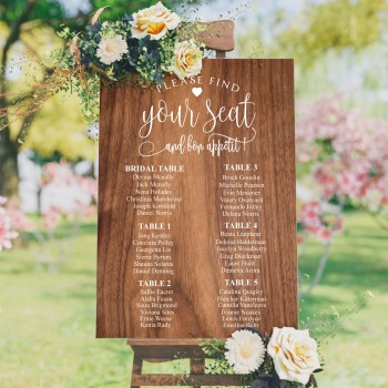 Bon Appétit Seating Plan Wedding Sign - Wood Style Background