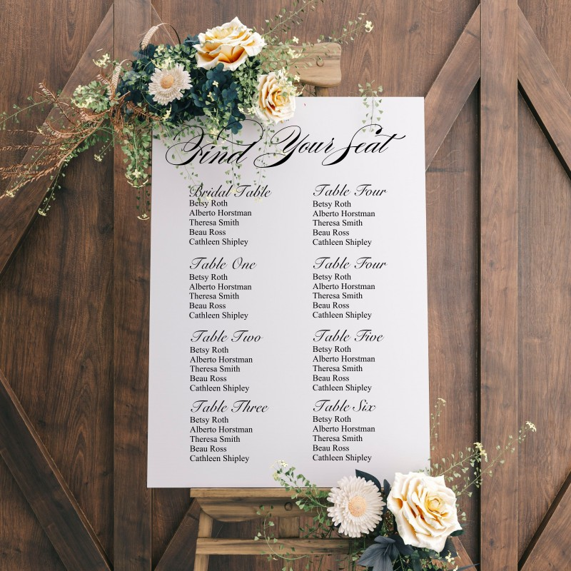Find Your Seat Seating Plan Wedding Sign White Background