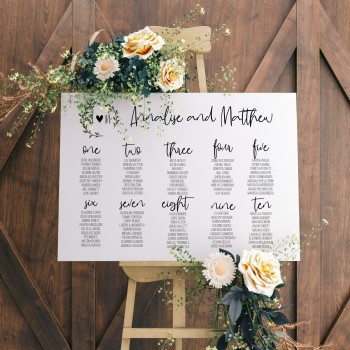 Personalised Initial Seating Plan Wedding Sign - White Background