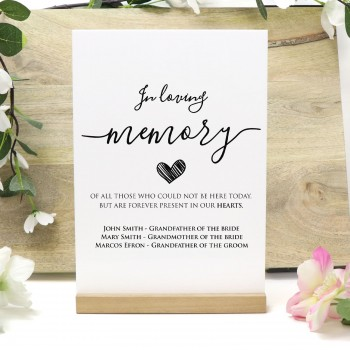 Personalised In Loving Memory White Acrylic Freestanding Wedding Sign