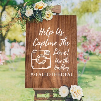 Personalised Hashtag Wedding Sign Capture the Love - Wood Design Background