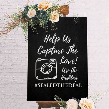 Personalised Wedding Hashtag Sign - White with Black Printed Design