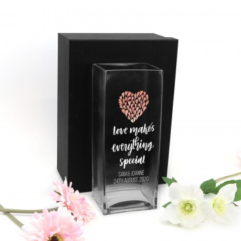 Printed Glass Wedding Vase Personalised Gift