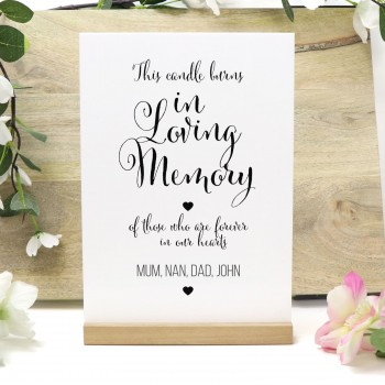 Personalised This Candle Burns in Loving Memory White Acrylic Memorial Wedding Sign