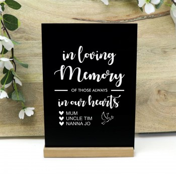 Personalised In Our Hearts White Acrylic Freestanding Memory Wedding Sign