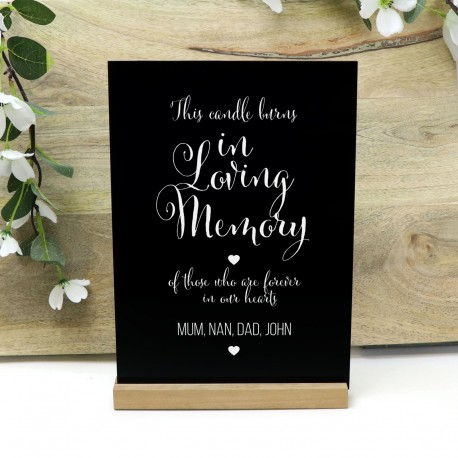Personalised This Candle Burns in Loving Memory Quality Gloss Black Acrylic Wedding Sign