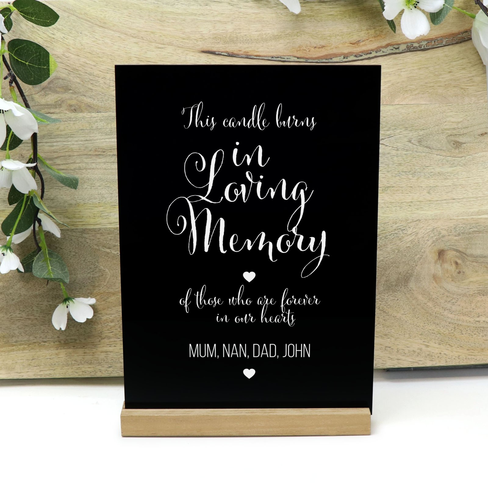 Wedding Remembrance Personalised Black Gloss Acrylic Sign With