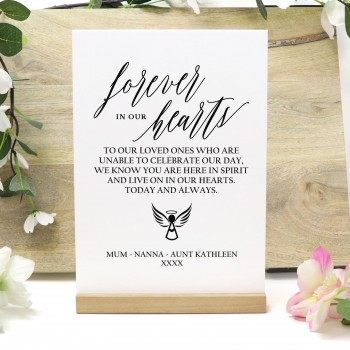 Personalised Forever In Our Hearts White Acrylic Freestanding Wedding Sign