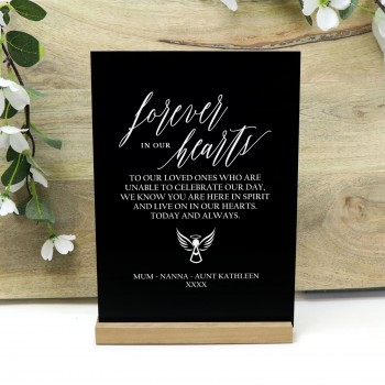 Forever In Our Hearts Black Acrylic Personalised Wedding Sign