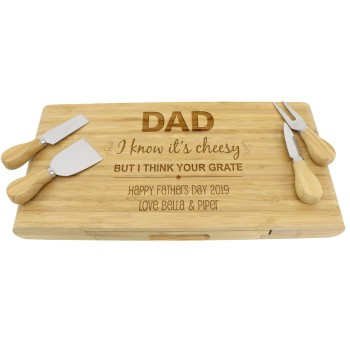 5 Piece Engraved Cheese Board with Utensils Fathers Day Gift