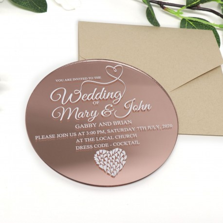 Large Round Printed Acrylic 3mm Thick Wedding Invitations