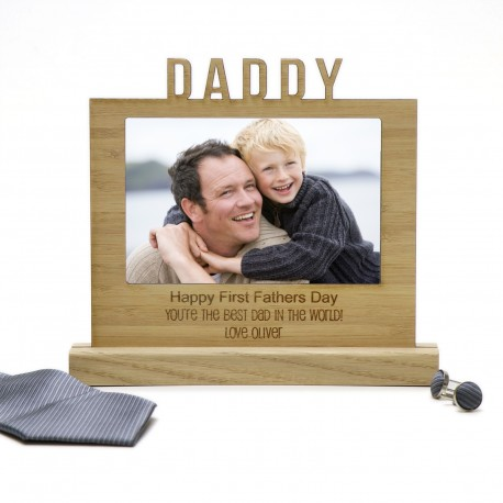 Personalised Wooden Desk Photo Sign Engraved Fathers Day Gift