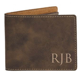 Personalised Engraved Brown Wallet Fathers Day Gift