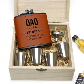 Fathers Day 6oz Black/Brown Leather Hip Flask with Timber Gift Box and Accessories