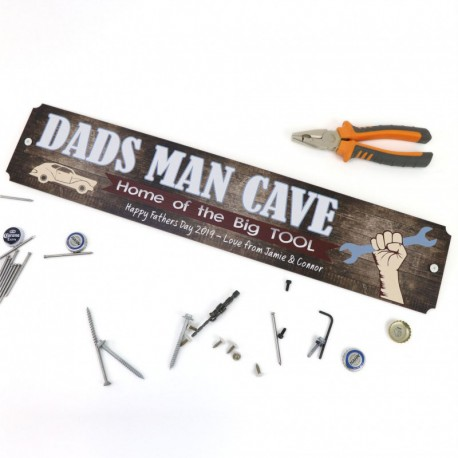 Dad's Man Cave Sign Printed Timber Fathers Day Gift