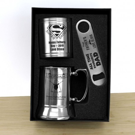 Engraved Beer Lover's Gift Pack for Fathers Day - Stubby, Stainless Steel Beer Mug and Bottle Opener