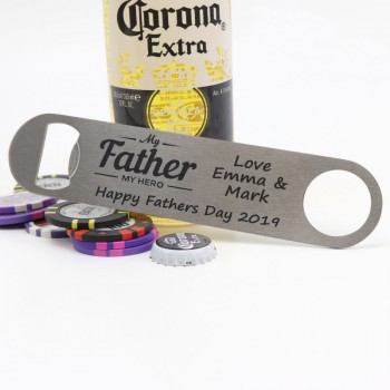 fathers day engraved stainless steel bottle opener groomsman gift father of the bride