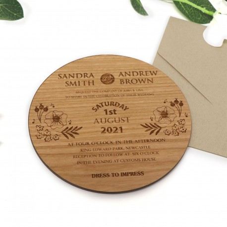 Large Round Engraved Cherry Timber 4mm Thick Wedding Invitations with Magnets