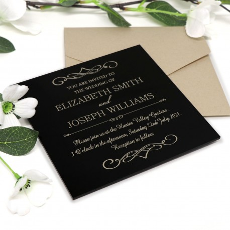 Large Square Engraved Cherry Timber Wedding Invitations with Magnets