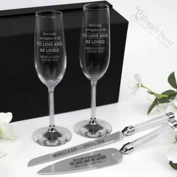 Engraved Silver Stem Crystal Cake Serving and Champagne Flute Set