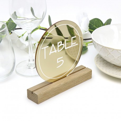 Gold Round Table Number - Acrylic with Timber Base